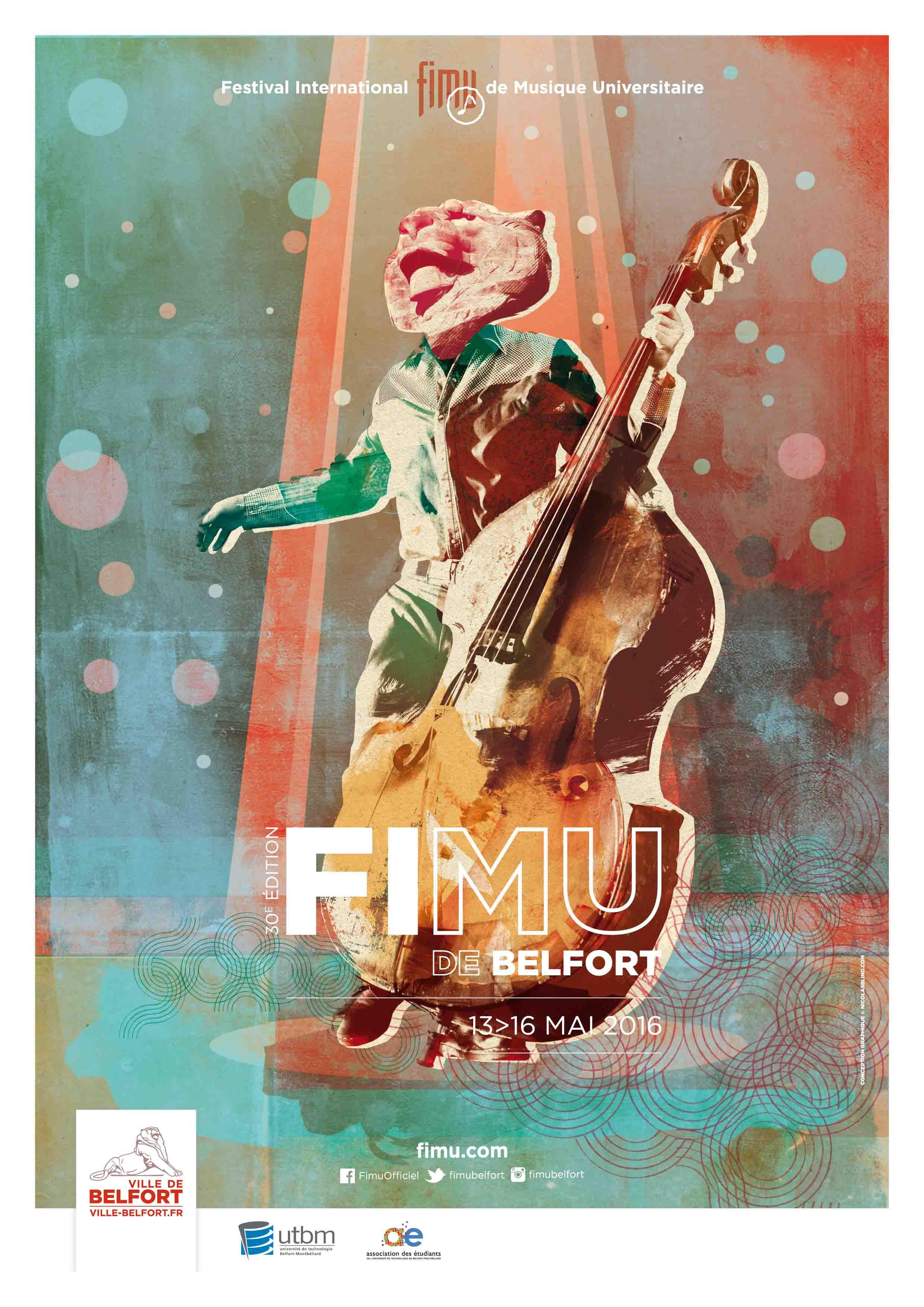 Plakat Jazz-Festival Belfort (FIMU) vom 13. bis 16. Mai und B.B.Q Jazz ist dabei!